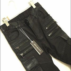 Balmain Black Dual front zip hard waxed slim cargo